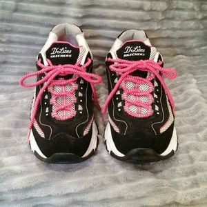 SKECHERS D'Lites Black/Pink Leather Tennis Shoes